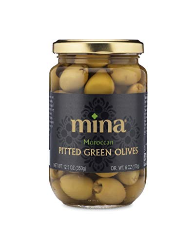 Mina Moroccan Pitted Green Olives, 12.5oz Jar