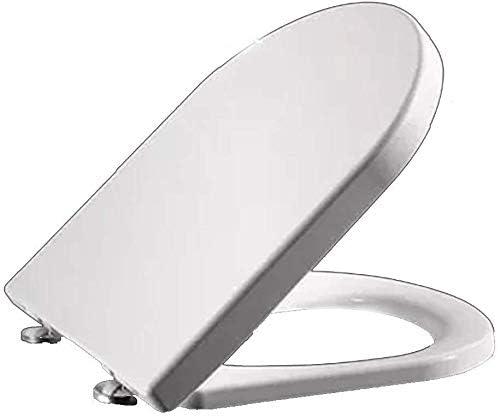 抗菌PPボード付きS-graceful便座ミュートダウンミュートウルトラレギュラー簡単に洗浄できるU字型便座用のトップマウントトイレ蓋、ホワイト-45〜47cm * 36cm