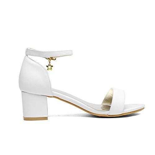 Odomolor Mujeres Tacón Medio Pu Sólido Hebilla Puntera Abierta Sandalias de vestir Blanco