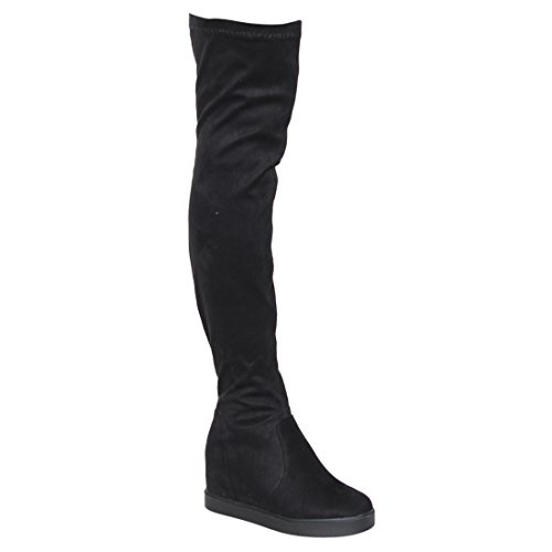 Hidden Wedge Boot - Beston EI21 Women's Drawstring Hidden Wedge Stretchy Snug Fit Over The Knee Boot, Color:BLACK, Size:8