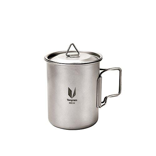 Tangram Ultra Light Titanium Camping Cup Titanium Mugs 500ml with Lid