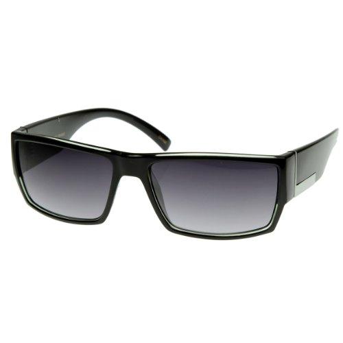 zeroUV - Modern Acetate Square Flat Top Wrap Sunglasses w/ Metal Detail - Men Modern Sunglasses For