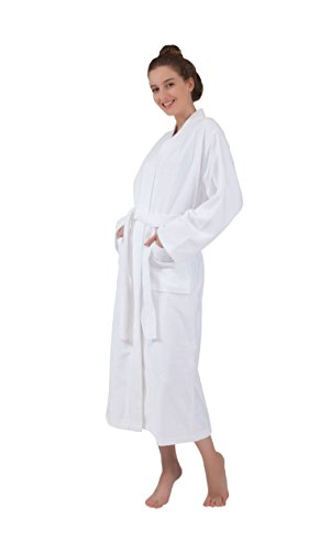 Bagno Milano Women's Robe, Turkish Cotton Soft Terry Velour, Elegance Spa Bathrobe, Made in Turkey - White -