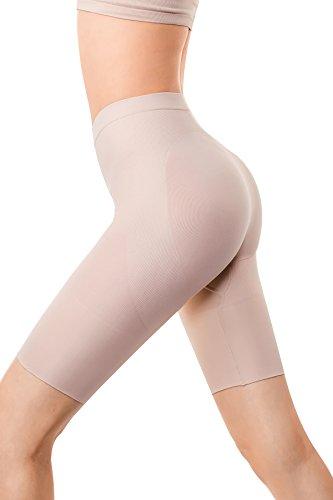Md Womens Thigh Shapewear High Waist Mid Thigh Shaper Slimmer Power Shorts Small Nude