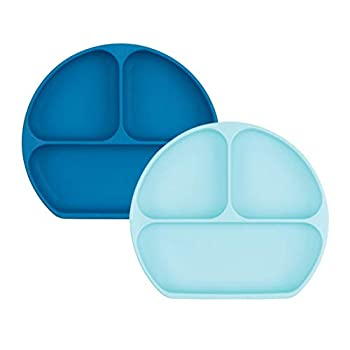 Bumkins Bumkins Silicone Grip Dish, Suction Plate, Divided Plate, Child Toddler Plate, BPA Free, Microwave Dishwasher Secure – 2pk Darkish Blue/Blue
