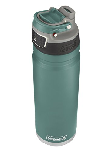 (Coleman FreeFlow AUTOSEAL Insulated Stainless Steel Water Bottle, Seafoam, 24 oz.)