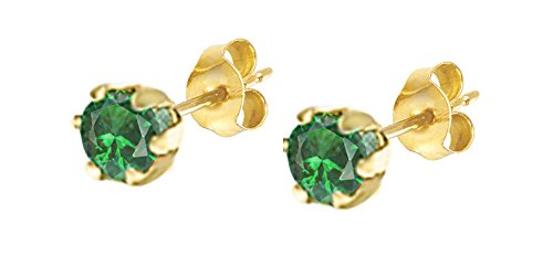 Round Simulated Green Emerald Stud Earrings In 10K Solid Gold ()
