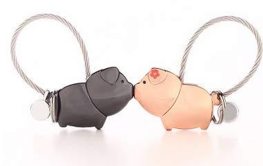 Deanyi Llavero [2 Unidades] un par de Amantes Cerdito Animales Llaveros de Suerte trébol Llavero presupuesto Objetos