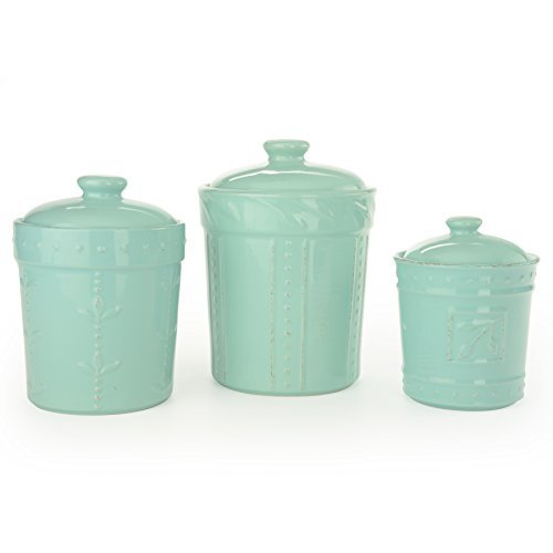 Signature Housewares Sorrento Collection Canisters (Set of 3), Aqua Blue (Set Collection Canister)