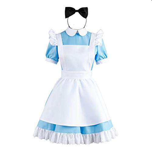 Cos store Womens Alice in Wonderland Costume Kids Fairytale Ddress Up M/L siz Blue -