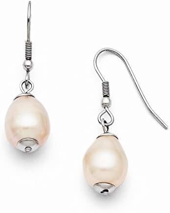 Stainless Steel FW Cultured Pearl Shepherd Hook Earrings
