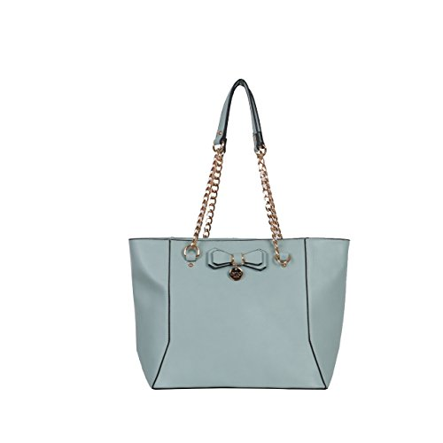 LYDC London Schultertaschen für Damen Elegant gestaltet und Fashion Style mit Reißverschluss Taschen und Bownot Dekoration (Wein) Light Blue