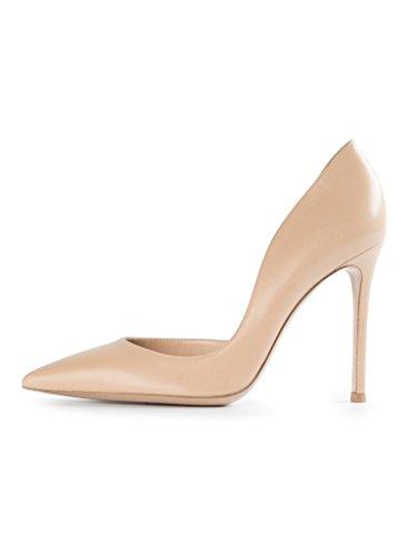 Femme Bout 10cm Haut Chaussures Aiguille Talon Escarpins Enfiler A Edefs Pointu Nude pOwqAA