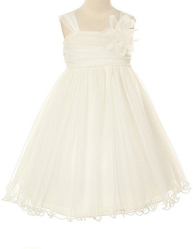 - Kids Dream Big Girls' Special Occasion Double Layer Mesh Dress, 12, Ivory