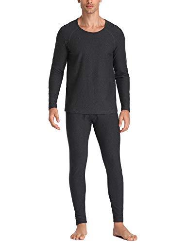 LALAVAVA Lusofie Warm Thermal Underwear for Men Heavyweight Cotton Long Johns Set Base Layer (Dark -