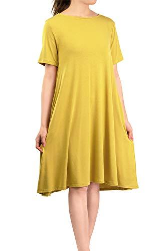 Casual Side Midi Plain Basic Wasabi Shirt Solid Malibu Sleeve Dress Days Pockets Loose Women's T Flared Short Eqx66AwY1