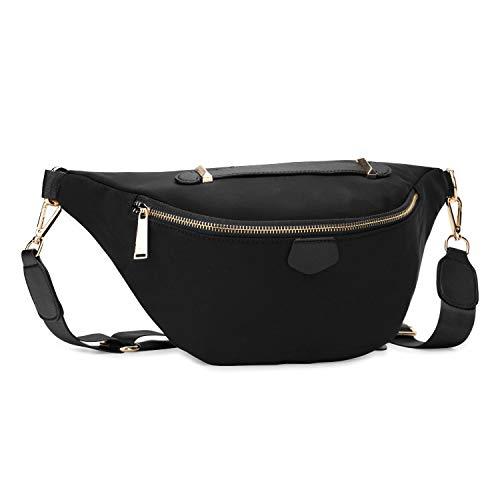 Wind Took Damen Brusttasche Crossbody Bag Mode-Hüfttaschen Große Umhängetasche Sling Tasche Schultertasche für Reisen Festival Konzert Freizeit, Schwarz