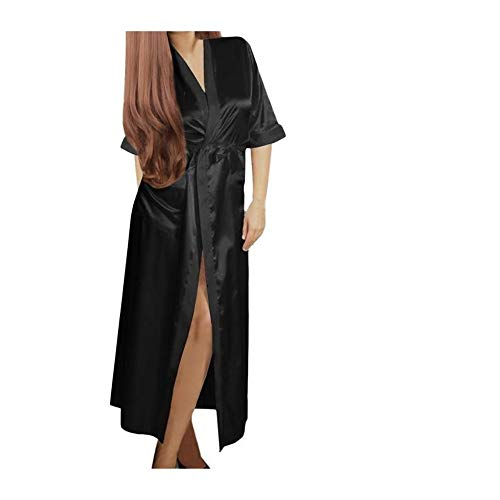 Lungo Huyizhi Kimono Sexy Camicia Da Lingerie Notte Black Abito Donna gqrg8w4