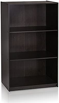 Furinno 99736EX Basic 3 Tier Bookcase Storage Shelves Espresso