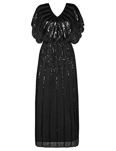PrettyGuide Women's 1920s Dress Beaded Deco Mother of The Bride Maxi Cocktail Flapper Dress Black S/M -