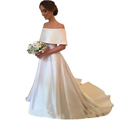 (Yuxin Elegant Ball Gown Satin Wedding Dress for Bride 2019 Off Shoulder Sweep Train Wedding Party Bridal Gowns Ivory)