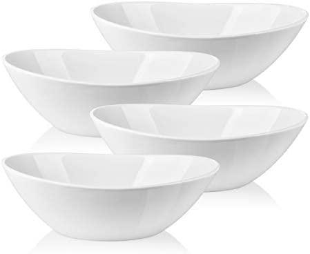 Amazon Com Lifver Serving Bowls 36 Ounces Large Cereal Bowls Porcelain Salad Bowls Set For Salad Cereal Dessert Set Of 4 White Dishwasher Microwave Safe Serving Bowls