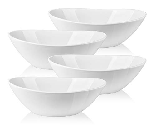 LIFVER 1.1 Quart Porcelain Serving Bowls for Salad, Side dishes, Soup, Dessert, Set of 4, White ()