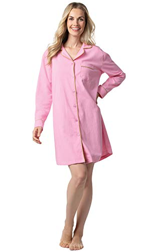 Addison Meadow Sleep Shirts for Women - Flannel Sleep Shirt, Pink, L, 12-14