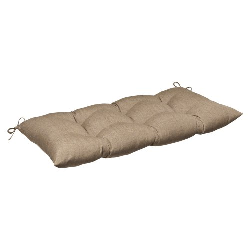 r/Outdoor Wrought Iron Loveseat Cushion with Sunbrella Linen Sesame Fabric, 44 in. L X 18.5 in. W X 5 in. D (Beige Fabric Cushion)