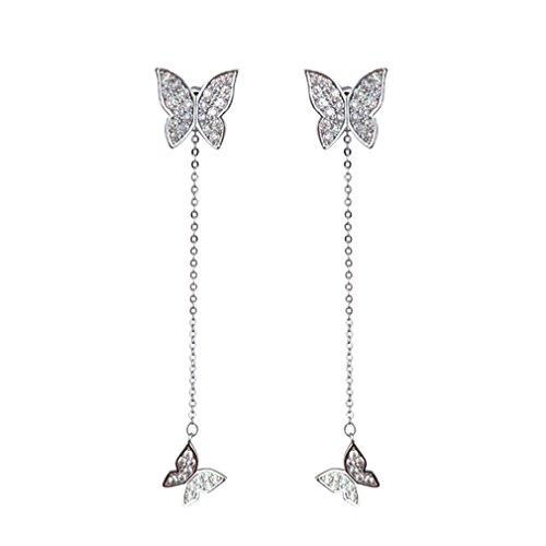 Meolin Butterfly Earrings Eardrop Fringed Chain Earbob Rhinestone Long Tassel Dangle Dangling Ear - Butterfly Earrings Rhinestones Jewelry