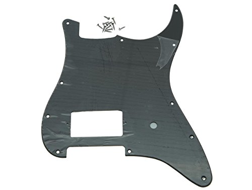 (KAISH 11 Hole ST Strat One Humbucker Guitar Pickguard Scratch Plate Fits Fender Delonge Matte Black 1 Ply)
