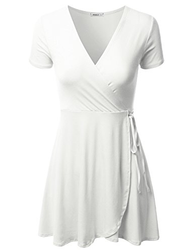Doublju Short Sleeve Surplice Wrap A-Line Dress for Women with Plus Size Ivory Small ()