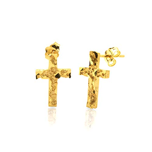 (LoveBling 10k Yellow Gold Cross Nugget Stud Earrings (0.19 x 0.14