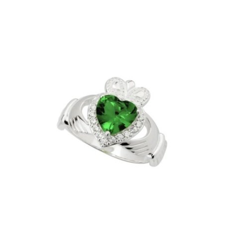 Crystal Claddagh Ring White & Green Sterling Silver, Sz 6