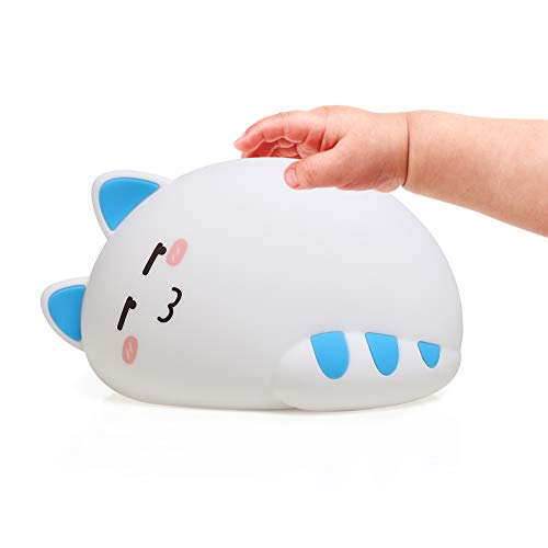 Night Light for Kids Baby Cute Cat Soft Silicone Animal Nurs