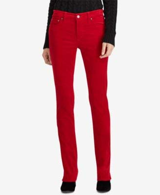 (RALPH LAUREN Womens Red Corduroy Straight leg Casual Jeans 18)