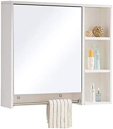 Sciever JP- ミラー付き純木製収納キャビネット、バスルームタオル掛け付き壁掛け化粧鏡-防水防湿多層収納キャビネット