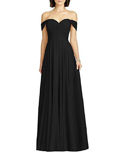 OYISHA Womens Off Shoulder Chiffon Bridesmaid Long Evening Dress Formal BD131
