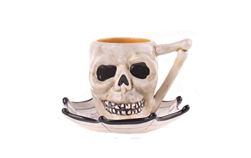 Blue Sky Ceramic Halloween Skull Cup and Saucer Set, 5.5
