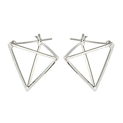 Punk Simple Geometric 3D Cube Square Triangle Earrings Silver Gold Plated Stud Earrings for Women,Girls' Gifts (Silver) ()
