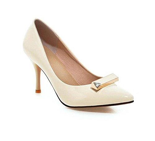 XIE Zapatos de Corte de Las Mujeres Finas con la Boca Baja Inclinada de la Boca Baja apuntó el Dedo del pie bajo para Ayudar a los Zapatos, Pink, 38 WHITE-38