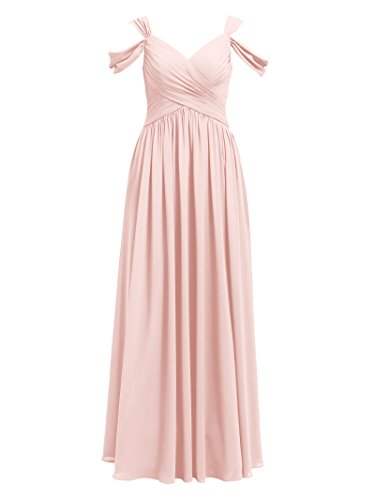 Alicepub Pleated Chiffon Maxi Bridesmaid Dress Long Formal Event Dress for Party, Pearl Pink, US10