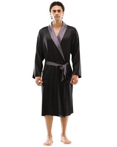 Narasilk Men's 100% Silk Satin, Contra Trim Knee-length Robe, Sleep Lounge XXL Black & Dark Gray