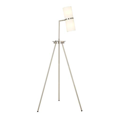 """Catalina Lighting 21893-001 Contemporary Adjustable Tripod Floor Lamp with USB Port, LED Bulb Included, 60.75"""", Brushed Steel"""