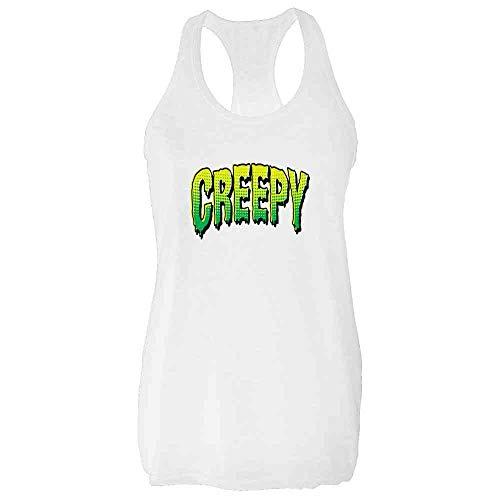 Pop Threads Creepy Retro Comic Text Halloween Costume Horror White 2XL Womens Tank Top -