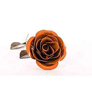 Personalized Gift Hand-Forged Wrought Iron Orange Metal Rose- Valentine's Day Gift 85