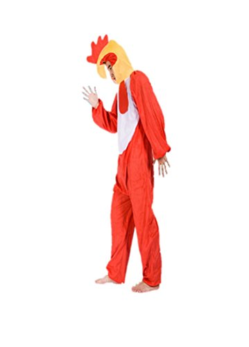 Adult Sized Animal Costumes Unisex Pajamas Fancy Dress Outfit Cosplay Onesies (Red Rooster)