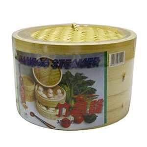 JapanBargain 2222, Bamboo Steamer Basket 8 inch Chinese Food Rice Vegetable Dim Sum Dumpling Buns Chicken Meat Seafood Steamer, 8-inch (Inch Basket 8 Steamer)