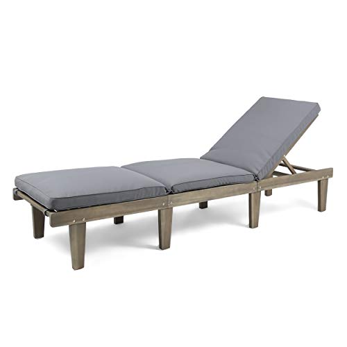 Great Deal Furniture Alisa Outdoor Acacia Wood Chaise Lounge with Cushion, Grey and Dark Grey