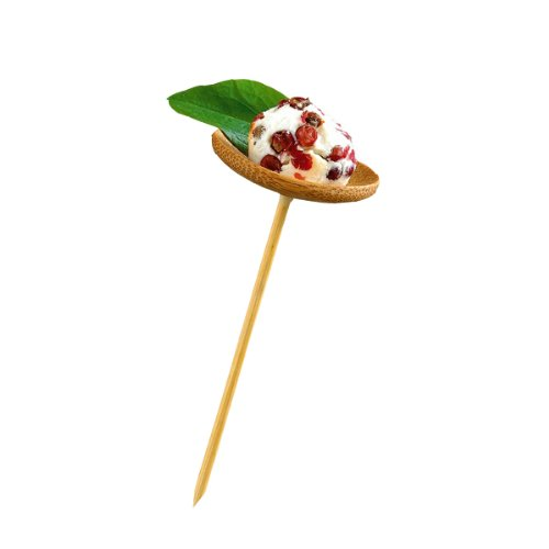 "PackNWood 209BBTHANI ""Thani'' Bamboo Mini Dish with Skewer - Length: 3.9'' Dish : 1.6'' - 144 per case by PacknWood"